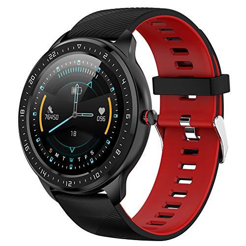 Reloj Inteligente con Bluetooth, Pantalla táctil, Impermeable, Deportivo, Reloj Inteligente, rastreadores de Actividad física con Monitor de sueño y Ritmo cardíaco, podómetro para Android iOS (B)