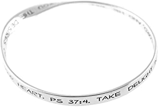 Dicksons He Will Give You The Desires of Your Heart Mobius Silver-Plated Women`s Bangle Bracelet
