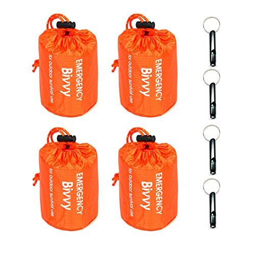 4 Pack Emergency Sleeping Bags Survival Bivvy Sack with Whistles, Lightweight Portable Survival Gear for Outdoor Camping Hiking Keep Warm After Earthquakes, Hurricanes Disasters