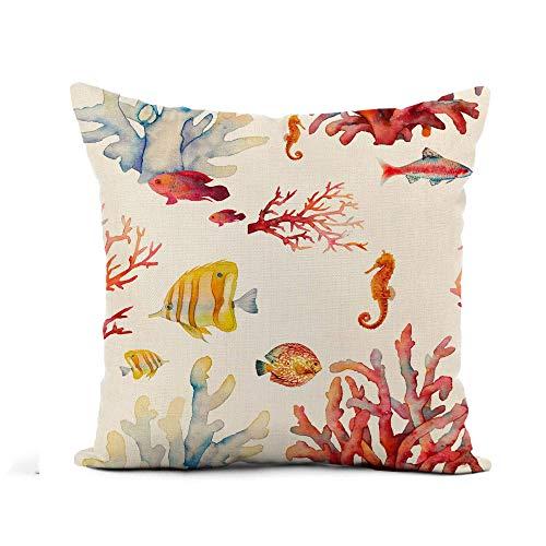 Funda de almohada de tiro Acuarela Arrecife de coral Peces tropicales realistas Funda de almohada de caballo de mar Decoración del hogar Funda de almohada de lino de algodón cuadrada Funda de cojín