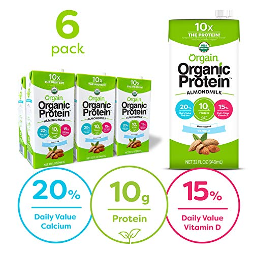 Orgain Organic Plant Based Protein Almond Milk, Unsweetened Vanilla - Non Dairy, Lactose Free, Vegan, Gluten Free, Soy Free, No Sugar Added, Kosher, Non-GMO, 32 Ounce (Pack of 6)