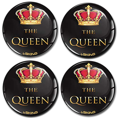 SkinoEu® 4 x 60mm Aufkleber 3D Gel Silikon Autoaufkleber Stickers The Queen Felgenaufkleber Für Radkappen Nabenkappen Radnabendeckel Rad-Aufkleber Nabendeckel Auto Tuning A 4960