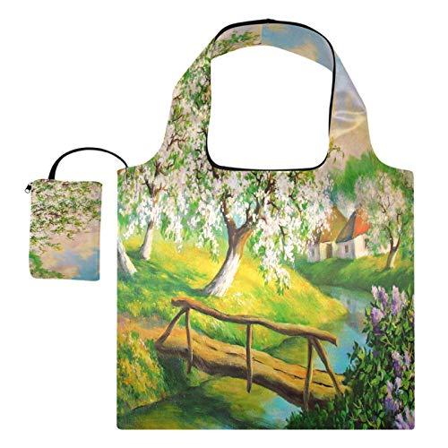XiangHeFu Totalizadores reutilizables del regalo de la tienda de comestibles Bolsas de la compra Plegables de gran capacidad, árbol floreciente del puente del país