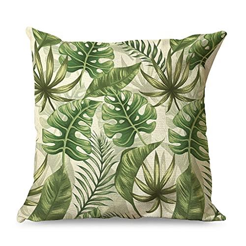 Gamoii Funda de cojín con diseño tropical de Monstera con plantas verdes, funda de cojín decorativa de lino, con cremallera oculta, para blanco11 45 x 45 cm