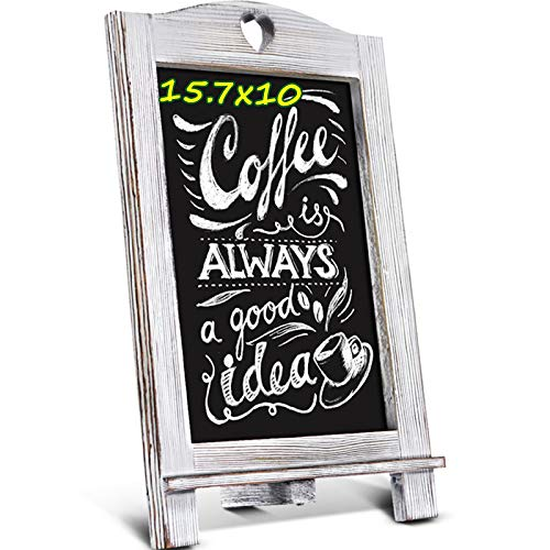 Homemaxs 15.7'' X 10'' Chalkboard Signs, Rustic Magnetic Tabletop Chalk Board with Frame and Hanging String, Easel Countertop Memo Decor Board for Wedding, Kitchen, Birthdays, Drawing, Coffee Shop