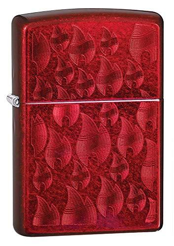 Zippo Iced Flame Design, Accendino Antivento Unisex-Adulto, Rosso, Standard