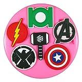 Logos de superhéroes Molde de silicona para la torta de Decoración Pastel de Cupcake Toppers Glaseado Sugarcraft Tool por Fairie Blessings