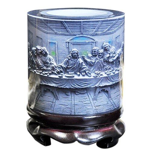LIZOAN YDGJ AHJJ Top-Grade Crystal Resin Material Jesus Savior Embossed Pattern Ornaments Drum Shape Rotation Pen Holder