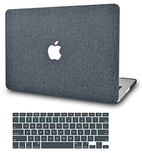 """KECC Laptop Case for MacBook Air 13"""" Retina (2020, Touch ID) w/Keyboard Cover Plastic Hard Shell Case A2337 M1 A2179 2 in 1 Bundle (Grey Fabric)"""