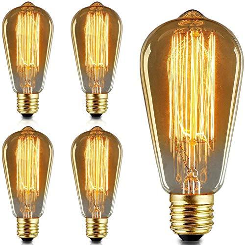 Edison Vintage Glühbirne 4 Stück 6W ST64 Glühlampen Edison Glühbirne, Dimmbar Glühbirne E27 Antike Dekorative Glühbirne Bernstein Edison Glühlampen Birne Retro-Glühlampen (6W 4 Stück)