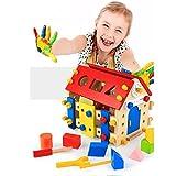 Dirgee Pädagogisches Spielzeug Holz, Holzgebäude Set Hammer Spielzeug, DIY Holz Schraube Muttern Block Bolzen Set Aktivität Haus BAU Sets Holz Spielzeug