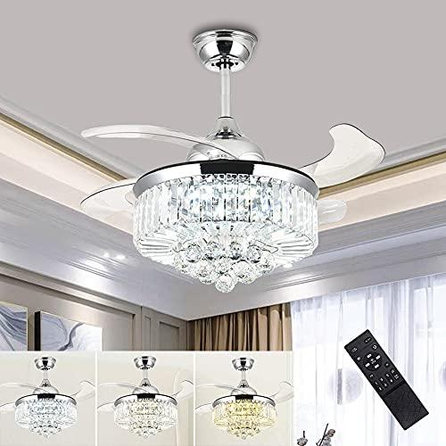 Lámpara de techo moderna de 36 '' con ventilador K9 Candelabro de cristal Ventilador de techo con luz Regulable en 3 colores con control remoto Aspas retráctiles para sala de estar Dormitorio Cocina