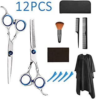 12 Pcs Professional Hair Cutting Scissors Set Barber Thinning Scissors with Cape Clips Comb for Barber Salon and Home