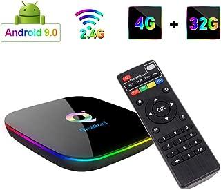 Greatlizard Android 9.0 Q Plus TV Box 4GB RAM 32GB ROM 4K HD H6 Quad Cord 2.4G WiFi Smart TV Box