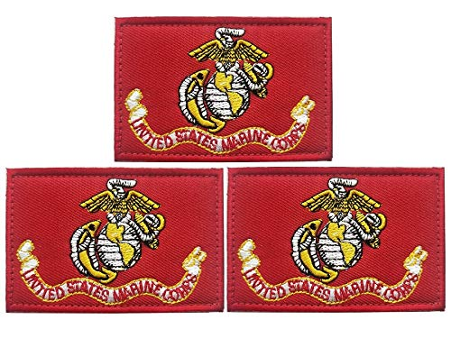 JAVD (3Pack) US Marine Corps Flag Patch USA Marine Corps Flags patchs US Marine Corps Tactical Flag Embroidery Patch with, for Hats, Tactical Bags, Jackets, Clothes Patch Team Military Patch