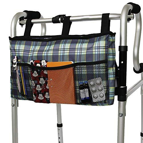 Walker Bag Organizer, MDSTOP Hanging Storage Bag, Waterproof Accessory Tote Caddy, Universal Fits for Walkers, Scooters or Rollator Walkers (Blue2, 16.5' x 9')