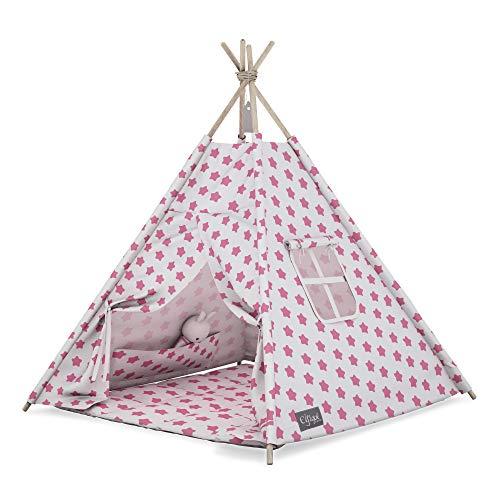 Elfique - Tienda de campaña para niños (tipo Tipi, con tapa, color blanco y rosa)