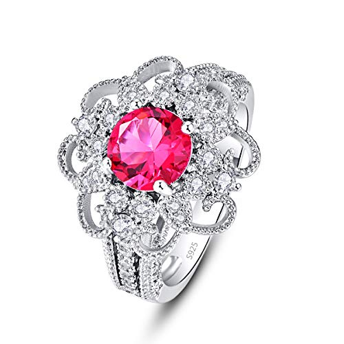 PAKULA 925 Sterling Silver Women Simulated Ruby Gemstone Flower Engagement Ring CZ Band Size 7