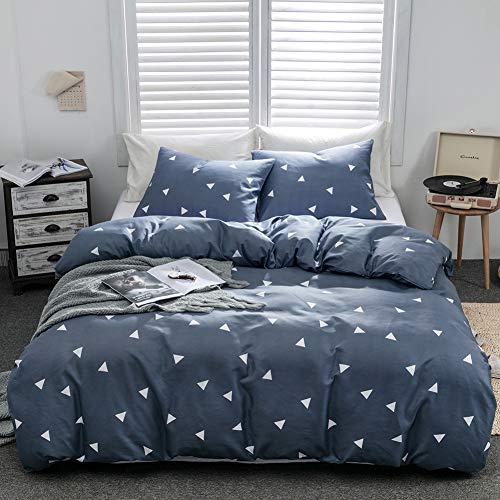 Argstar 3 Pcs Duvet Covers Queen, Geometric Bedding Set Covers, Triangle Pattern Blue Down Comforter Cover, 1200 TC Hotel Luxury Microfiber, 1 Duvet Cover and 2 Pillowcases