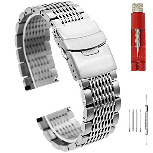 Solid Stainless Steel Mesh Watch Band for Men Women Brushed Middle Polished Metal Watch Strap Bracelet Deployment Clasp 20mm 22mm 24mm Black Silver Blue Gold Rose Gold (18mm, Silver)