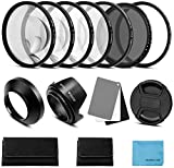 58mm Lens Filter Accessories Kit:UV CPL Adjustable ND Filter(ND2-ND400),Macro Close up Filter Set(+1,+2,+4,+10),Lens Hood,3 in 1 Grey Card for Canon Nikon Sony Pentax Olympus Fuji DSRL Camera