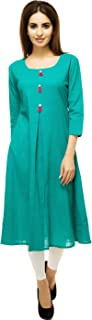 Aahwan Indian Tunic Top Kurti For Women Solid Polyester Cotton Skirt Dress