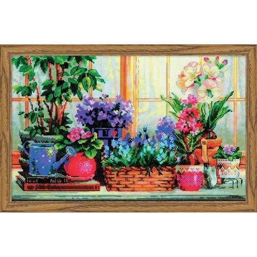 Riolis–1669Ventana Banco con Flores Cruz, algodón, Multicolor, 40x 25x 0,...