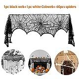 kungfu Mall 1set Kit de telaraña Bufanda de Chimenea de Tela de araña de Encaje Negro de 18 x 95 Pulgadas, telaraña Blanca de 100 g para la decoración de Halloween con 60 Piezas de arañas