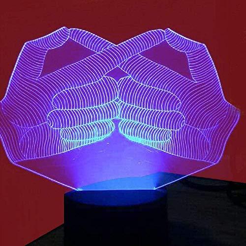 Luce notturna 3D, luce d'atmosfera per bambini, luce notturna a LED, regalo per bambini, comunicazione gestuale, mano umana