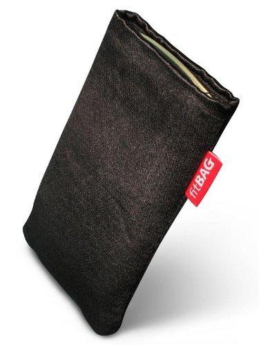 fitBAG Techno Schwarz Handytasche Tasche aus Textil-Stoff mit Microfaserinnenfutter für ASUS M930