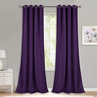 NICETOWN Thick Blackout Curtain and Drapes - (52 x 108, Royal Purple, Pack of 2) Thermal Insulated Grommet Top Window Draperies for Bedroom, Block Out Light Curtain Panel