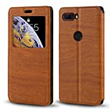 ZTE Nubia Z18 Case, Wood Grain Leather Case with Card