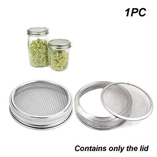 Couvercle de pot à germination en acier inoxydable - Kit de couvercle de germination courbé pour pot large - bocaux Mason pour la fabrication de graines de germes biologiques à la maison (1 pièce, argenté)