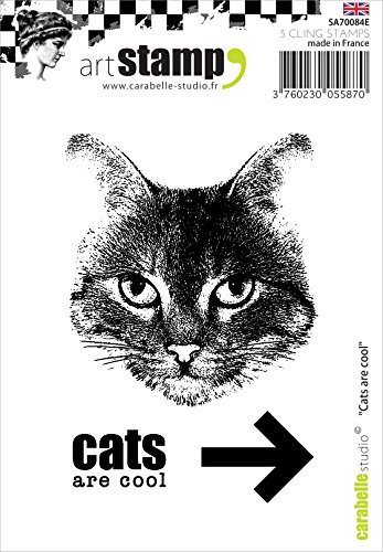 Carabelle Studio A7 Cling Stempel - Cats Are Cool, Rubber, White transparent, 10 x 8 x 0.5 cm