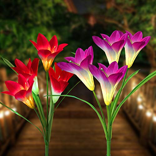 Outdoor Solar Garden Stake Lights - Multi-Color Changing Flower Lights for Pathway, Lawn (Big Lily 2 Pack)