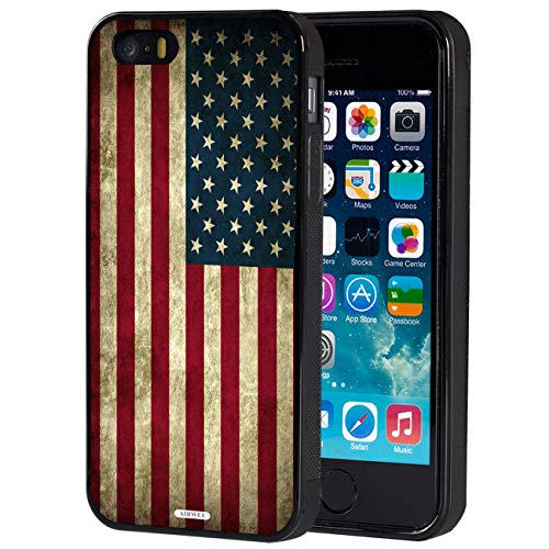 iPhone 5S Case, AIRWEE Slim Impact Resistant Shock-Absorption Silicone TPU Back Protective Case Cover for Apple iPhone 5,iPhone 5S,iPhone SE,Old American Flag