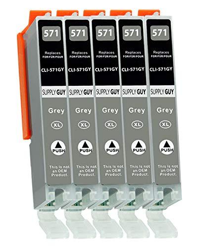5 Cartuchos de Tinta con viruta Compatible con Canon CLI-571 (Gris) para Pixma MG7700 MG7750 MG7751 MG7752 MG7753 TS8000 TS8050 TS8051 TS8052 TS8053 TS9000 TS9050 TS9055
