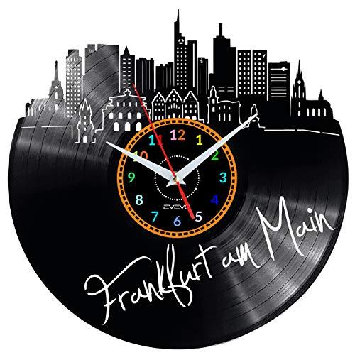 EVEVO Frankfurt am Main Wanduhr Vinyl Schallplatte Retro-Uhr groß Uhren Style Raum Home Dekorationen Tolles Geschenk Uhr Frankfurt am Main