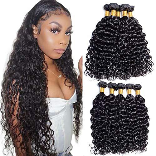Maxine Hair Malaysian Wavy Hair Weave 3 Bundles (20 22 24,300g) Virgin Water Wave Human Hair Weave 100% Unprocessed 9A Hair Weft Extensions Natural Bl