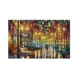 Tmpty Lienzo LED Amante del Arte de la Pared Paseo Nocturno lluvioso Pinturas Decorativas Impresión 3D Obra de Arte para Sala de Estar (Color : 2, Size : 16 x 24in)