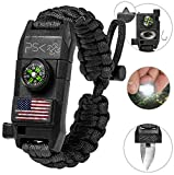 PSK Paracord Bracelet 8-in-1 Personal Survival Kit Urban & Outdoors Survival Knife, Fire Starter, Glass Breaker, Survival Whistle, Signal Mirror, Fishing Hook & String, Compass (Black - USA Flag)