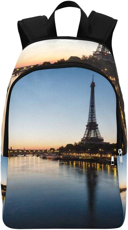 Eiffel Tower D Iena Bridge Dawn Paris Casual Daypack Travel Bag College School Backpack for Mens and Women