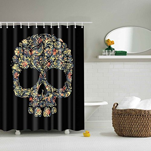 GWELL Top Qualität Anti-Schimmel Duschvorhang Digitaldruck inkl. 12 Duschvorhangringe für Badezimmer Art-C 180x180cm