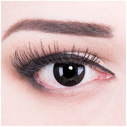 Meralens A0199 Black Out Kontaktlinsen mit Behälter mit Stärke -4,50. 1er Pack (1 x 2 Stück) Perfekt zu Halloween und Fasching