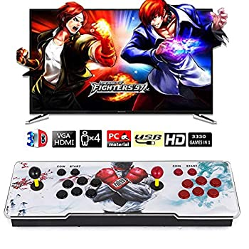 【4300 Games in 1 】 Classic 3D Arcade Game Console Pandora s Box Retro Game Machine with Arcade Joystick Double Stick Support 3D Games HDMI VGA USB 1280X720 Full HD Video Game