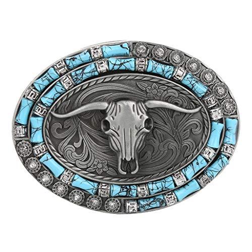 Baoblaze Hebilla Ovalada de Indio Rodeo Metal de Reemplazo para Cinturón de Hombres - 3