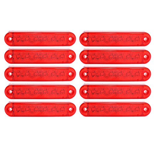 10x LED 12V 24V Begrenzungsleuchte Positionsleuchte Markierung Seitenmarkierung Rot Gelb Weiß (Rot)