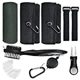 Golf Cleaning Kit, Black Golf Towel with Clip, Golf Brush and Groove Cleaner, ZEALFOXE Golf Club Cleaning Brush, Golf Divot Tool, Cooling Towels for Neck and Face, Golf Accessories for Men and Women