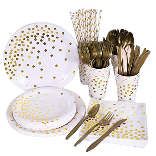 Disposable Paper Plates Dinnerware Set Dinner Plates Dessert Plates 9oz Cups Napkins Cutlery Straws Serves 24 for Wedding Birthday Party New Year Eve Party Christmas (White and Gold)