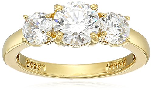 Yellow-Gold-Plated Sterling Silver Round 3-Stone Ring made with Swarovski Zirconia (2 cttw), Size 6
